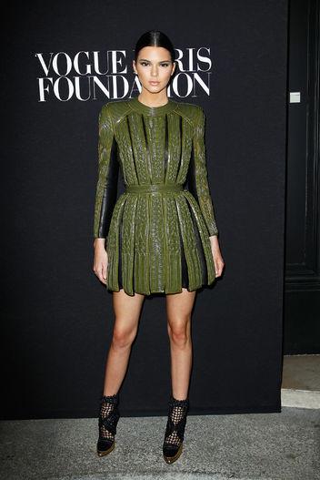 kendall-jenner-green-balmain-dress-couture-week-2014-w352